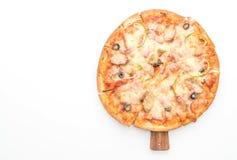 skinka- och korvpizza Fotografering för Bildbyråer
