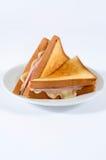Skinka och ostsmörgås arkivbild