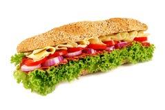 Skinka- & ostbagettsmörgås Fotografering för Bildbyråer