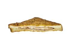 Skinkaostsmörgås på vit bakgrund Royaltyfria Foton