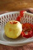 Skinless peel apple. Peel apple fruit skinless tray Royalty Free Stock Photography