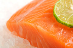 Skinless salmon fillet on ice. Skinless salmon fillet, sliced on ice close-up Stock Images