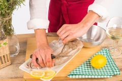 Skinning cuttlefish. Skinning a fresh cuttlefish before cooking Royalty Free Stock Photo