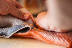 Skinning salmon filet Stock Image