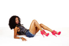 Skinny African American Teen Girl Shorts Vest Royalty Free Stock Image