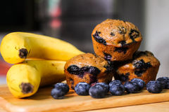 Skinny Banana Blueberry Muffins. Royalty Free Stock Photo