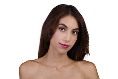 Skinny Bare Shoulder Portrait Attractive Hispanic Woman Royalty Free Stock Photos