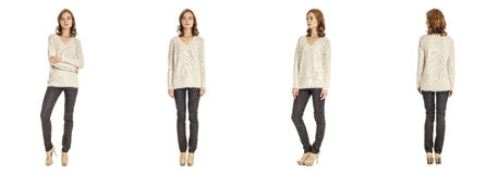 Skinny brunette fashion model in gray blouse isolated on white Royalty Free Stock Image