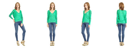 Skinny brunette fashion model in green blouse isolated on white Royalty Free Stock Image