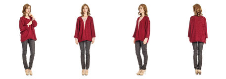 Skinny brunette fashion model in red cardigan isolated on white Stock Images
