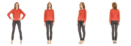 Skinny brunette fashion model in red sweater isolated on white Royalty Free Stock Photography
