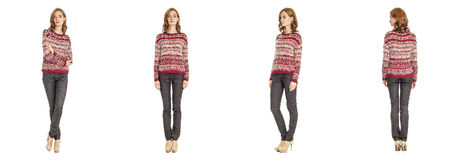 Skinny brunette fashion model in striped sweater isolated on whi Royalty Free Stock Image