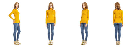 Skinny brunette fashion model in yellow pullover isolated on whi Stock Photography