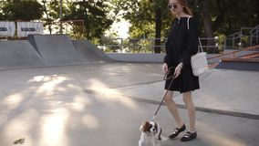 Skinny, caucasian girl walking by empty skatepark with her loving dog. Slow motion of pretty girl in black dress walking. Purebred dog in city park and smiling stock footage