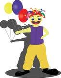 The skinny clown. The skinny funny clown holding three balloons Stock Photos