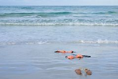Skinny Dipping Orange Bikini on Beach Royalty Free Stock Photography
