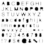 Skinny Fill Retro Font Big & Small Letters with Signs & Numbers Stock Image