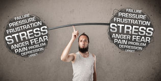 Skinny guy defeating stress Stock Image