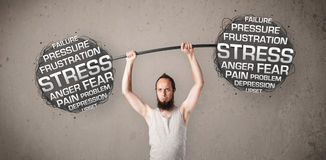 Skinny guy defeating stress Stock Photography