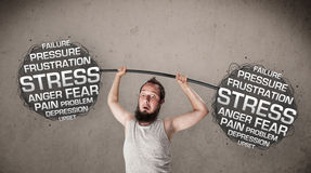 Skinny guy defeating stress Royalty Free Stock Photo