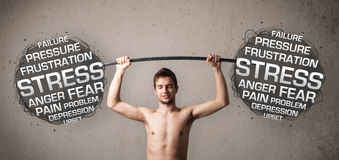 Skinny guy defeating stress Royalty Free Stock Images