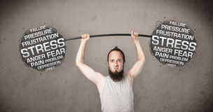 Skinny guy defeating stress Royalty Free Stock Image