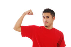 Skinny guy flexing his bicep Stock Images