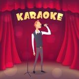 Skinny guy singing Karaoke on the scene. Cartoon style. Vector illustration Royalty Free Stock Photos