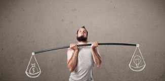 Skinny guy trying to get balanced Stock Image