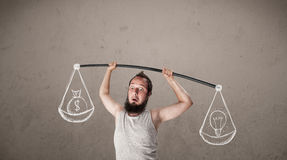 Skinny guy trying to get balanced Stock Photos