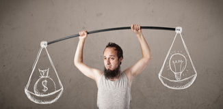 Skinny guy trying to get balanced Royalty Free Stock Photo