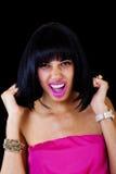 Skinny Light Skinned Black Woman Pulling Hair Stock Image