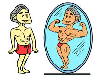 Skinny man and body builder Royalty Free Stock Image