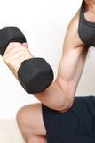 Skinny man workout Stock Image