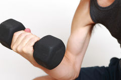 Skinny man workout Stock Photo