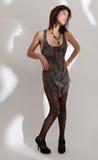 Skinny Model in Patterned Tights Stock Image