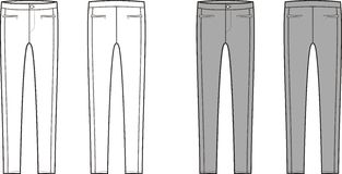 Skinny pants. Vector illustration of skinny pants. Front and back viiews Royalty Free Stock Photo