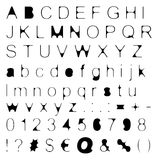 Skinny Retro Font Big & Small Letters with Signs & Numbers Royalty Free Stock Photo