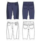 Skinny shorts. Unisex outlined template skinny grey shorts front & back view view, vector illustration  on white background Royalty Free Stock Images