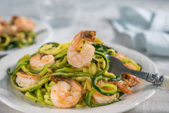Skinny Shrimp Scampi with Zucchini Noodles Stock Photo