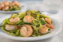 Skinny Shrimp Scampi with Zucchini Noodles Royalty Free Stock Images