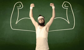 Skinny student wants muscles Royalty Free Stock Photos