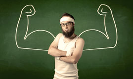 Skinny student wants muscles Stock Photo