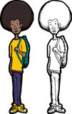 Skinny Teen with Backpack. Skinny teenage Black man with afro hair style and backpack Stock Photo