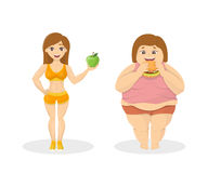 Skinny vs fat. Fit woman with apple and fat woman with fastfood Stock Images