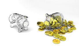 Skinny vs. fat piggy bank Royalty Free Stock Images