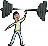 Skinny Weightlifter. Skinny Latino teen lifts large barbell with finger Stock Photos