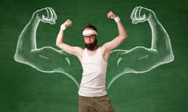Skinny young man working out Royalty Free Stock Images
