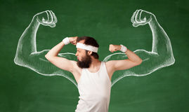 Skinny young man working out Stock Photos