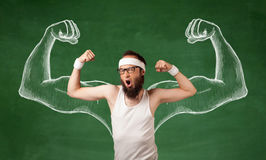 Skinny young man working out Stock Photo